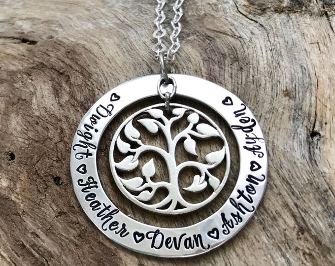Family tree pendant, Sterling silver, Hand stamped, Personalized, Tree of life, Family tree necklace, Family names, Children's names