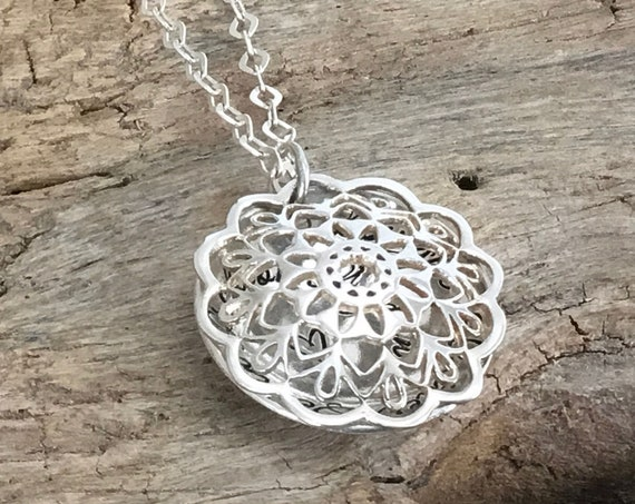 Mothers Locket necklace, Sterling silver, Mandala design, Personalized with kids names, Christmas gift for Mother