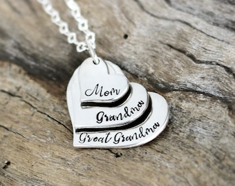 Mom Gift | Mom Necklace | Layered Heart | Grandma Heart Necklace | Sterling Silver | Mom Jewelry | Great Grandma Gift | Christmas gift