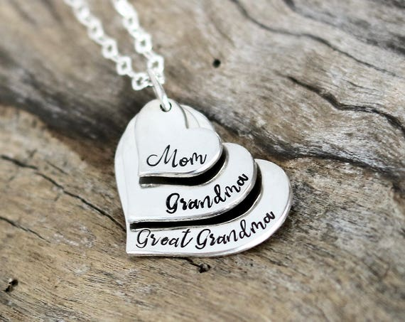 Mom Gift, Mom Necklace, Layered Heart, Grandma Heart Necklace, Sterling Silver, Mom Jewelry, Great Grandma Gift, Christmas gift