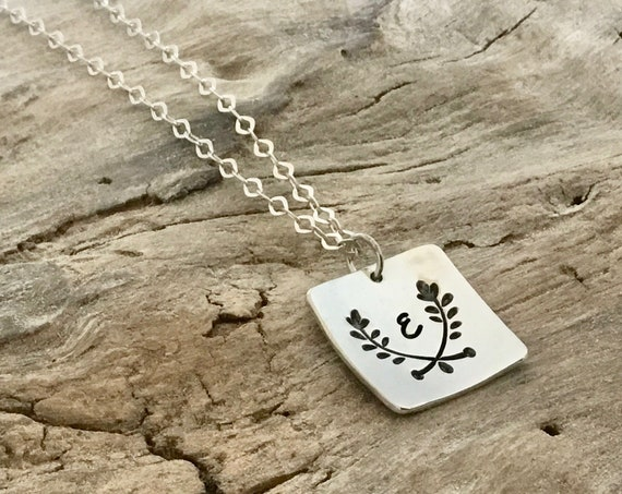 Sterling silver personalized custom initial necklace, Christmas gift for Daughter, Everyday jewelry