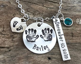 New mom gift, Birthstone name necklace, Sterling Silver footprints charm, New mom necklace personalized, New mommy jewelry, New mother