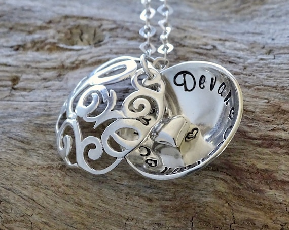 Daughter Heart Locket, Sterling Silver Personalized Love Necklace, Daughter Jewelry, Gift for Daughter for Christmas
