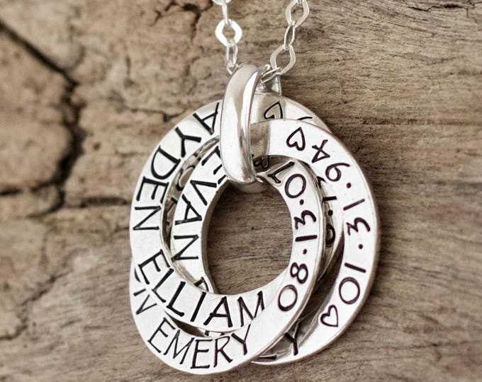Mother Necklace, Gift for Mother, grandma necklace, sister gift, gift for friend, Mother jewelry, Circle name rings, STERLING SILVER, Nana