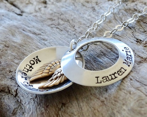 Mother of an Angel Sterling Silver Locket with Golden Bronze Tiny Wings, Miscarriage necklace, Sympathy Gift for Mom for loss of child