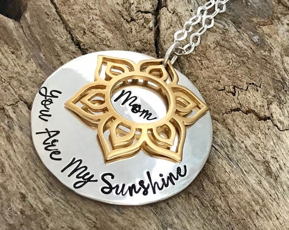 You Are My Sunshine Personalized Necklace, Mother Or Daughter Sunshine Necklace, Sterling Silver, My Only Sunshine Gift For Her