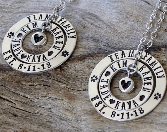 Blended Family Necklace, Wedding Gift for Family, Sterling Silver Jewelry for Stepdaughter Daughters Son Stepson, Blended family Unity Gift