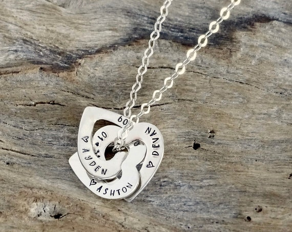 Personalized Heart Necklace - Interlinked, interlocking, intertwined linked hearts - Russian wedding ring hearts - Name necklace with names