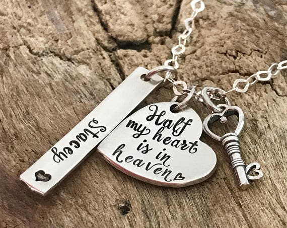 Half My Heart Is In Heaven Necklace | Memorial Jewelry | Remembrance Jewelry | Bereavement Jewelry | In Memory of Mom Dad | Key to my Heart