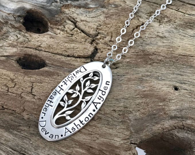 Grandmother Jewelry, Sterling Silver, Family Name Necklace, Tree of Life Necklace, Oval Tree, Grandma Necklace, Tree Jewelry, Gift Grandma