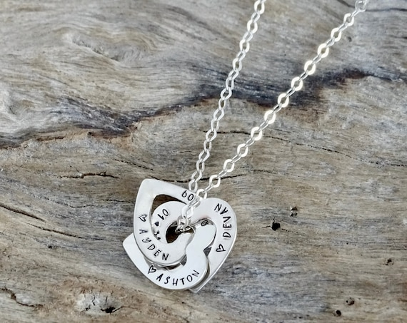 Entangled Hearts - Heart Name Necklace - Sterling Silver - Gift for Mom