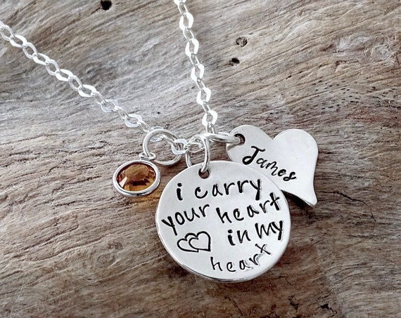 Personalized Memorial Necklace, I Carry Your Heart With Me, Loss, Remembrance, Miscarriage, Widow, In my Heart, Memorial Jewelry