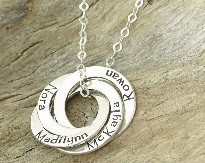 Personalized necklace for mom, Mothers gift, Gift for mom, Mothers jewelry, Mothers Necklace, Personalized necklace Sterling Silver, Circle