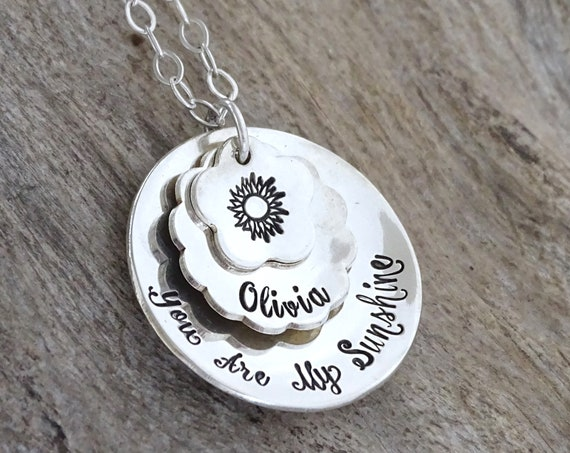 Gift For Mom Necklace, Personalized Necklace To Mom From Daughter, You are my Sunshine, Grandma Necklace, Jewelry From Son, Sterling Silver