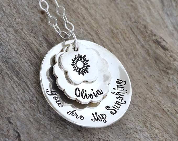 Mothers Day Necklace, You are my sunshine, Sunshine, My only sunshine, Personalized sunshine necklace, Sterling silver, Personalized Jewelry
