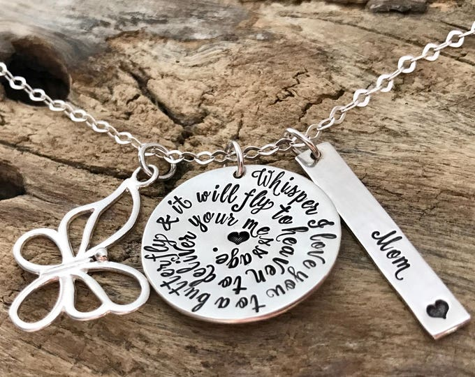 Memorial gift, Butterfly necklace,  Memorial Jewelry, MEMORIAL GIFT PERSONALIZED, Memorial gift mom, Memorial Dad, Memorial gift husband
