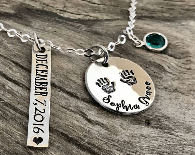 Birthstone necklace for mom silver, Birthstone necklace mother, Birthstone necklace silver, Sterling silver, Mother name necklace
