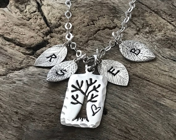 Family Tree Initial Necklace for Mom, Multiple Initials, Family Necklace, Silver Family Tree, Mom Necklace, Sterling Silver, personalized