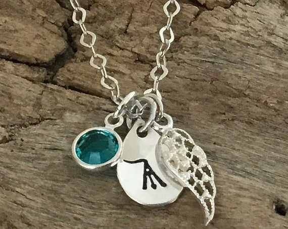 Personalized initial Memorial Necklace, Remembrance Jewelry, In Memory Of Necklace, Grief Gift, Sympathy Gift, Loss of sister, brother