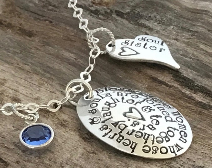 Soul Sister Gift, Soul Sisters necklace, Hand stamped necklace, unbiological sisters, Best friend gift, Soul Sister Jewelry, BFF gift