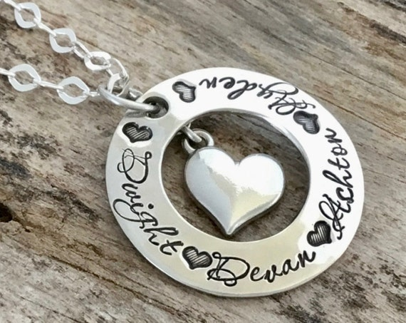 Heart name necklace, Personalized Mothers necklace, Personalized necklace, Hand Stamped Necklace, Sterling Silver Heart Jewelry, Mothers Day