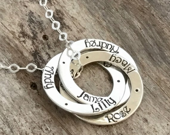 Mother's Necklace, Three Names, Three Rings,  Personalized, Hand Stamped, Sterling Silver, Name Necklace, Mom Necklace with Names