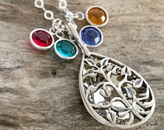 Mother Necklace with Birthstones, Tree necklace, Personalized Tree locket, Name Locket, Sterling Silver, Christmas Gift for Mom, Family tree