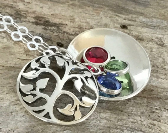 Custom Birthstone Tree Locket, Grandmas Necklace, Personalized Grandma Gift, Grandma Necklace, Tree of Life, Mothers Necklace, Tree Necklace