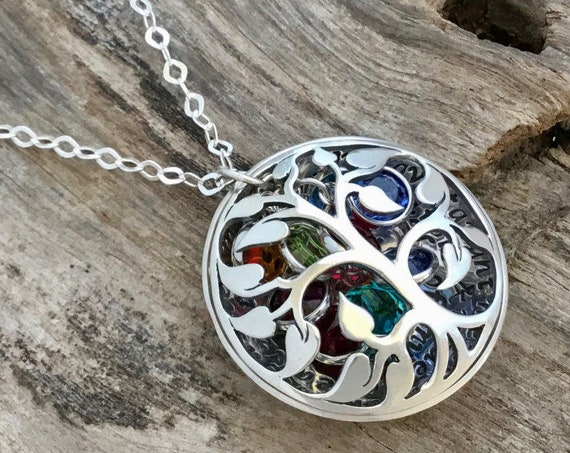 Family Tree Necklace with Birthstones, Sterling Silver Tree Necklace, Tree of Life Necklace, Mother Gift, Gift for Mom, Family Tree Jewelry