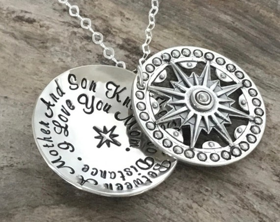 Mother Son Necklace, Long Distance, Mother Son Gift, Gift for Mom from Son, Sterling Silver, Mother Son Jewelry, Christmas Gift