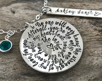 Personalized Mommy Necklace, Birthstone, Gift For Mom, Mothers Necklace With Childs Names, Strength of My Love Phrase Necklace