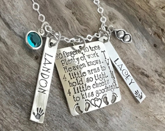 Gift For Twin Mom, Mother Of Twins, Personalized Mommy Necklace, Gift For Mom Of Twins, Twin Mom Push Present, Mothers Necklace Twins