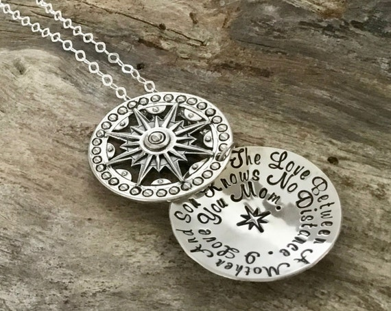 The Love Between a Mother and Son Necklace, Mother Son Jewelry, Gift to Mom from Son, Mom Heart Necklace, Hand Stamped