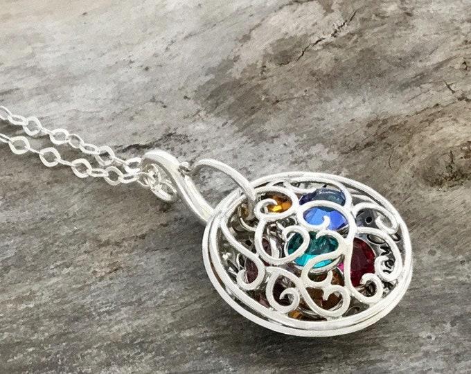 Birthstone necklace personalized, Birthstone necklace for Mom, Sterling Silver, Mom Birthstone Necklace, Birthstone Filigree Locket