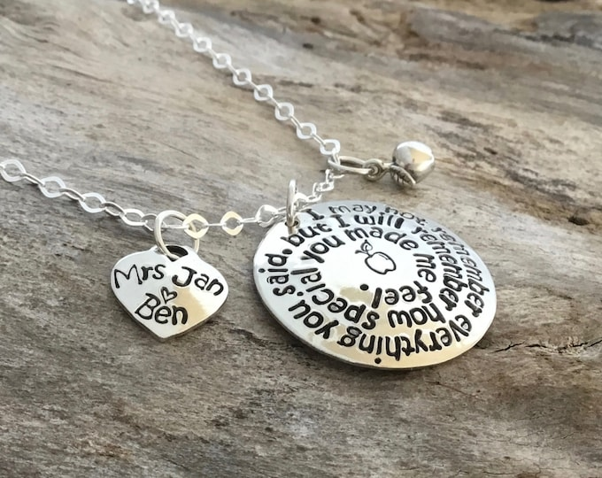 Personalized Teacher Necklace, Sterling Silver, Thank You Gift for Teachers,  I will remember how special you made me feel, Teacher gift