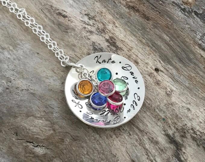 Birthstone Necklace, christmas Gift for Grandma, Birthstone Jewelry, Grandmother Jewelry, Personalized Gift, Nana Necklace, Grandma Jewelry