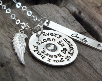 Custom Memorial Jewelry, Necklace, Sterling Silver, Personalized, Memorial Gift, Angel, Sister, Family, Brother, Husband, Sympathy Gifts
