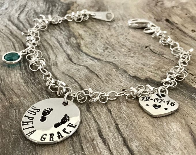 New mother gift, New mom bracelet,  personalized, New mom jewelry, Mommy bracelets, New mom gift, Personalized Bracelet, Sterling Silver