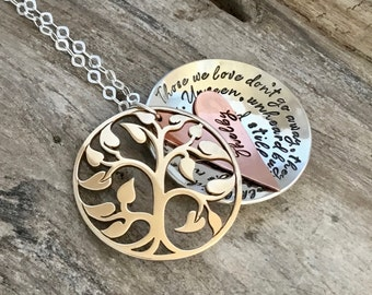Tree of life Locket, Memorial Necklace, Personalized Hand Stamped Jewelry, Mixed metal|bereavement necklace, Those we love don't go away...