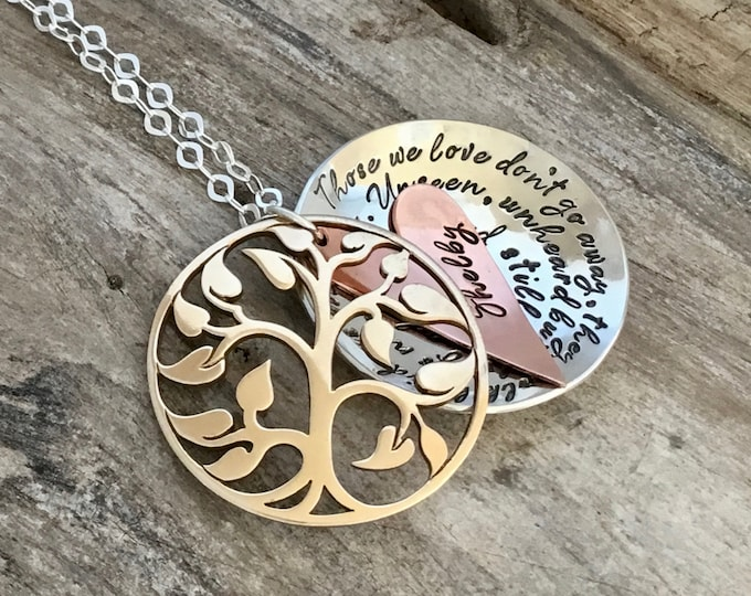 Tree of life Locket|Memorial Necklace|Personalized Hand Stamped Jewelry|Mixed metal|bereavement necklace|Those we love don't go away...