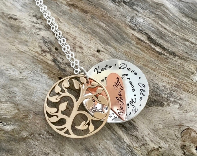 Grandmothers Gold Tree Necklace | Family Tree Necklace | Tree of Life | Grandmother Necklace | Mothers Necklace | Family Necklace