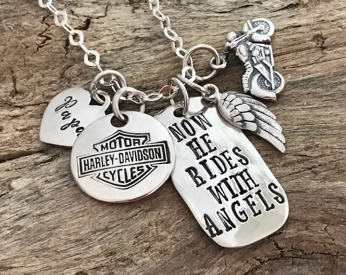 Custom Memorial with Motorcycle, Memorial Jewelry, Sympathy Gift, Remembrance Necklace,Personalized, Motorcycle Memorial with Angel wing