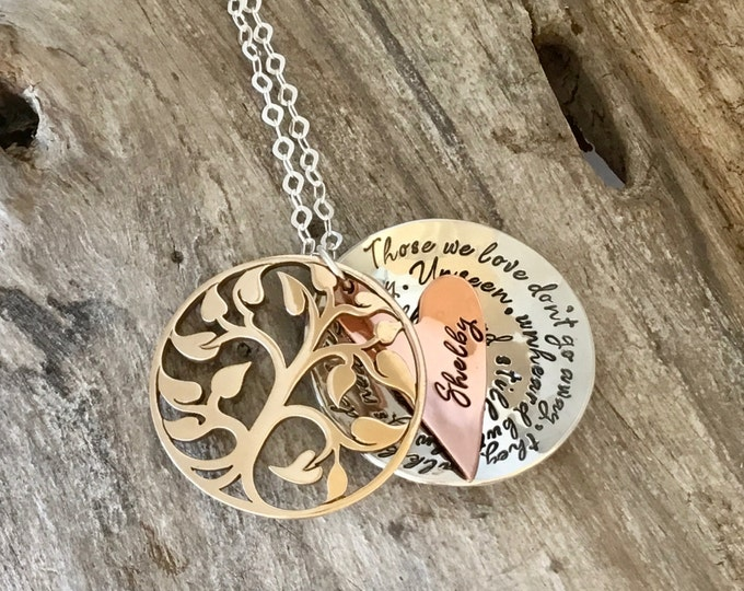 Memory necklace mourning, Grieving, Bereavement, Remembrance, Custom, Gold Bronze, Tree of Life, Sterling Silver, Locket, Heart