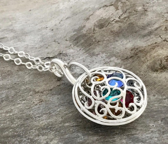 Birthstone necklace personalized, Birthstone necklace for Mom, Sterling Silver, Mom Birthstone Necklace, Birthstone Filigree Locket