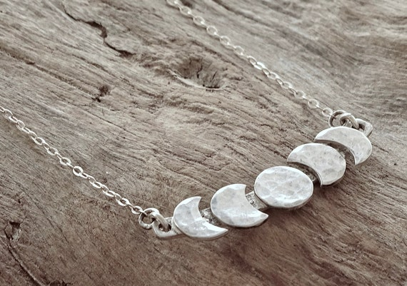 Moon Cycle Necklace, Sterling Silver, Moon Phase choker, Celestial Jewelry, Custom Moon Phase Necklace,