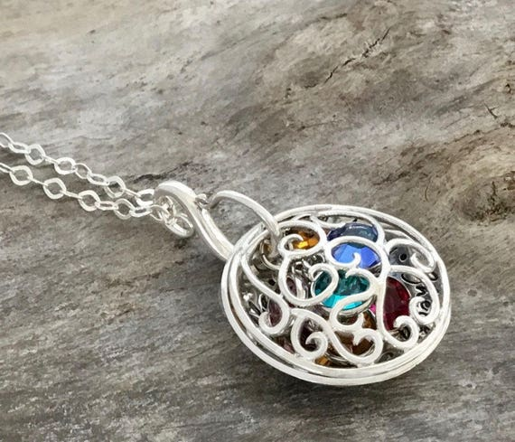 Mothers Necklace Birthstone, Personalized Jewelry, Swirled Design, Christmas gift for Mom,