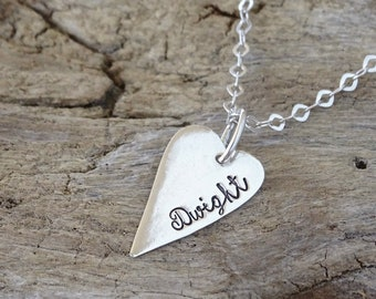 personalized heart necklace - gift for her - heart pendant - silver heart - love necklace - heart jewelry - personalized jewelry - heart