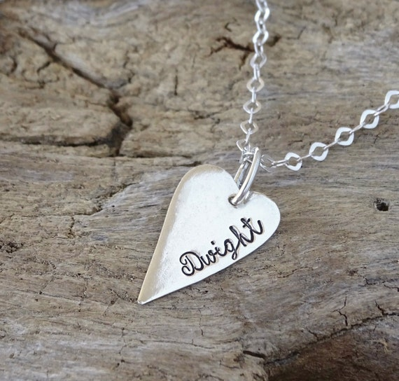Personalized heart necklace, gift for her, heart pendant, silver heart, love necklace, heart jewelry, personalized jewelry, Sterling Silver