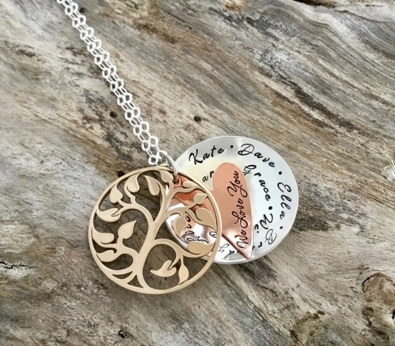Grandmothers Gold Tree Necklace, Family Tree Necklace, Tree of Life, Grandmother Necklace, Mothers Necklace, Family Necklace