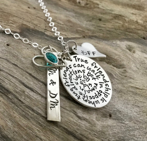 Best Friend Necklace, Friend Gift, Friendship Phrase Necklace,Hand Stamped Personalized, Long Distance Friendship,